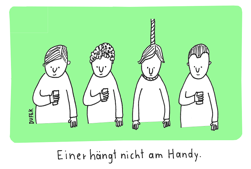 Am Handy hängen